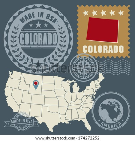 Abstract post stamps set with name and map of Colorado, USA, vector illustration - stock vector