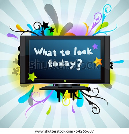Abstract poster with the TV - stock vector