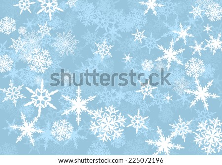Abstract Powder Blue Snowflakes - stock vector