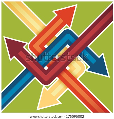 abstract presentation template with four intersecting directional arrows - stock vector