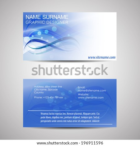 Abstract professional business card template or visiting card set/design for publishing, print and working or personal presentation