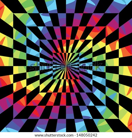 Abstract psychedelic background. Optical illusion. Vector illustration EPS10 - stock vector