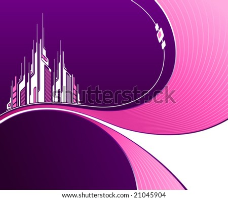 Abstract purple background with futuristic architecture. Vector illustration. - stock vector