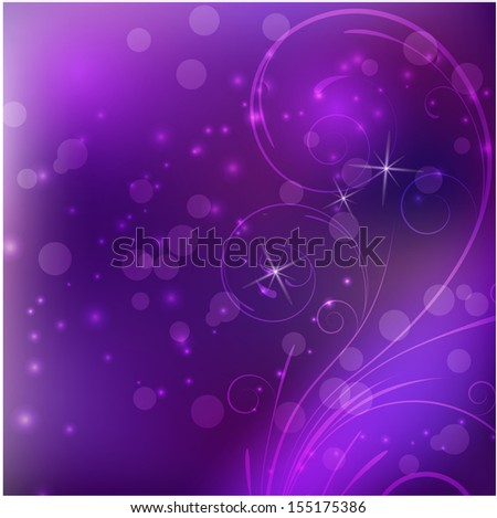 Abstract purple background with swirl floral elements - stock vector