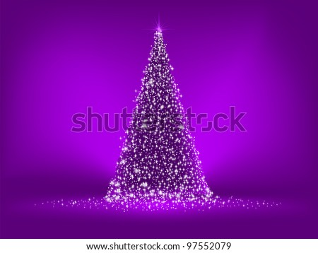 abstract purple christmas tree on purple eps 8 vector file included - Purple Christmas Tree