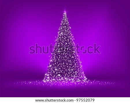 abstract purple christmas tree on purple eps 8 vector file included - Purple Christmas Tree