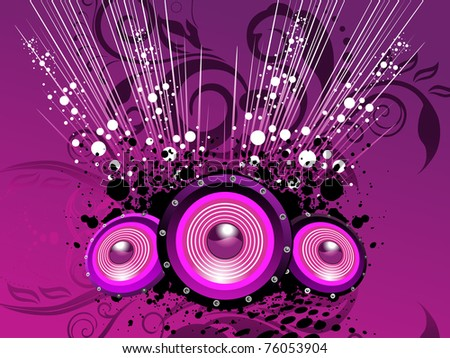 abstract purple floral, grunge background with vinyl - stock vector