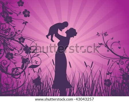abstract purple rays background with mother silhouette with his child in garden - stock vector