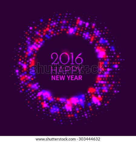 Abstract purple round frame of colorful disco lights shining and shimmering on the black background for New Year - stock vector