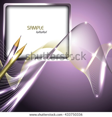 Abstract Purple Shiny Background with Notepad and Pencils. - stock vector