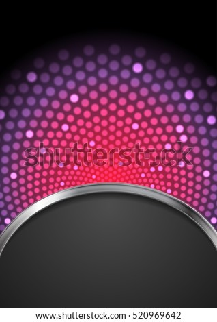Abstract purple shiny flicker design with silver waves and black background. Glowing art vector illustration
