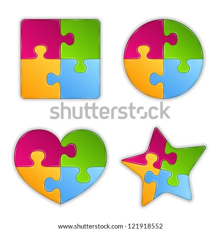 Abstract puzzle objects, design elements for your logo, vector eps10 illustration - stock vector