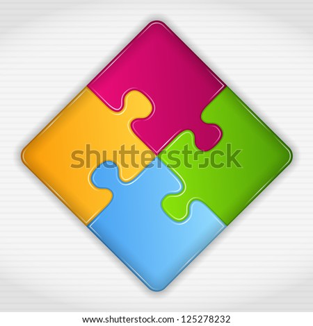 Abstract puzzle square, vector eps10 illustration - stock vector