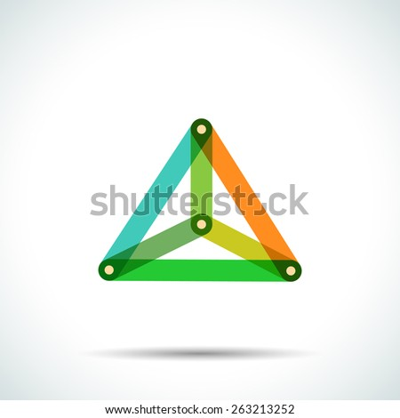 Abstract pyramid logo with intersecting transparent lines and dots - stock vector