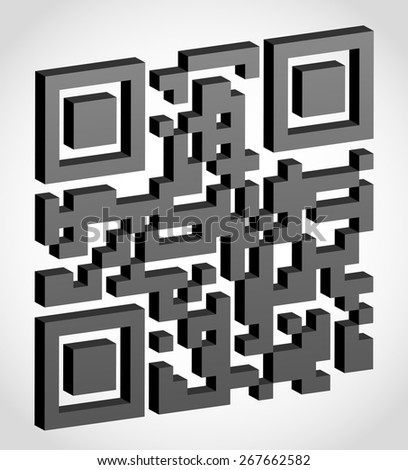 abstract qr code visually 3d effect vector illustration isolated on white background - stock vector