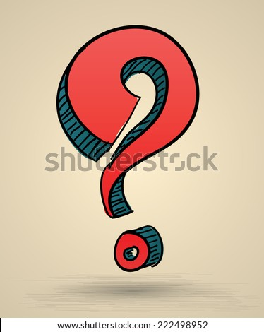 Abstract question mark sketch vector Illustration. Hand drawn sign. Can use for printing and web icons.Doodle style. - stock vector
