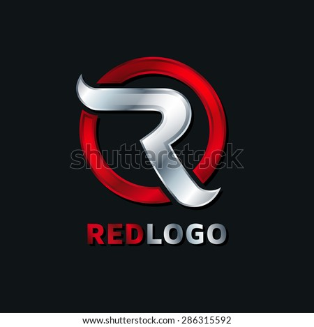 abstract R red logo concept of the letter to the company's logo, service graphics - stock vector