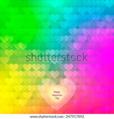 abstract rainbow background from hearts.  I love you . Vector illustration - stock vector