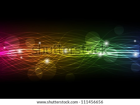 Abstract rainbow background with lights