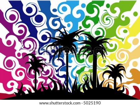 abstract rainbow background with palm trees - stock vector