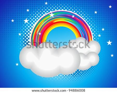 abstract rainbow card with cloud vector illustration - stock vector