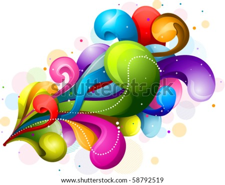 Abstract Rainbow Colored Swirls - Vector - stock vector
