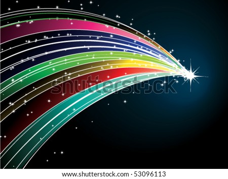 Abstract rainbow comet with stars - stock vector