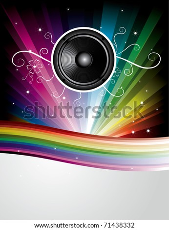 Abstract Rainbow Disco Background with stars, lines and speaker
