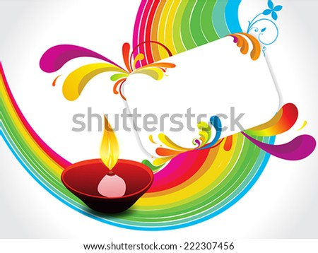 abstract rainbow floral with diwali background vector illustration - stock vector