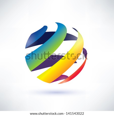 abstract rainbow globe icon - stock vector