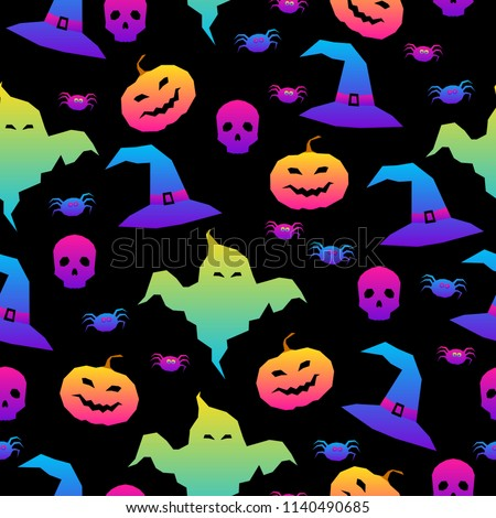 abstract rainbow happy halloween seamless background modern pattern for halloween card party invitation