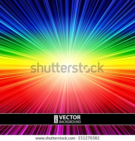Abstract rainbow striped burst background. RGB EPS 10 vector illustration - stock vector
