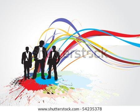 Abstract rainbow wave line background with standing businessman . Vector illustration. - stock vector