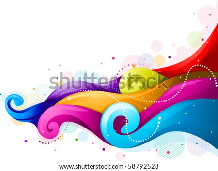 Abstract Rainbow Waves - Vector