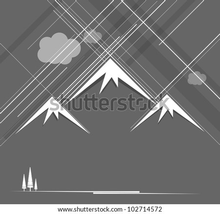 Abstract raining mountains with clouds - stock vector