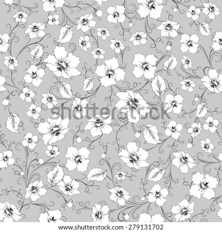 abstract random  floral pattern in vintage style  on grey background, seamless, vector illustration - stock vector