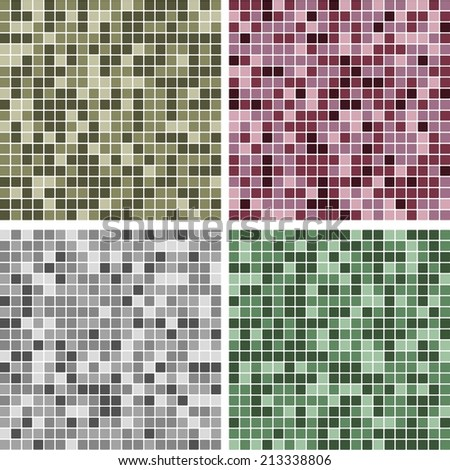 Abstract Random Tile Background Set,  Purple, Green, Oliver Green, and Gray Colors - stock vector