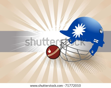 abstract rays background with isolated helmet, cricket ball, vector illustration - stock vector