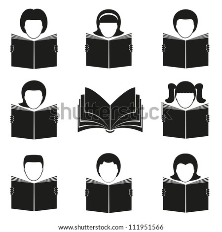 Abstract reading people. EPS-10 (non transparent elements,non gradient) - stock vector