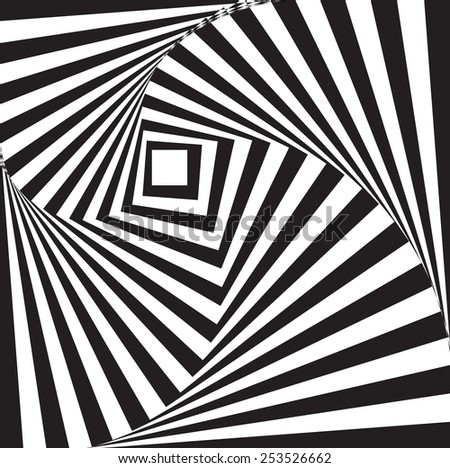 abstract rectangle rotation black and white background - stock vector