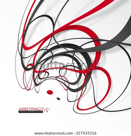 Abstract red and black lines and dots with shadows, modern vector perspective background - stock vector