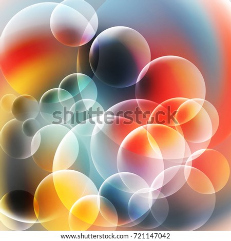 Abstract Red and Blue Bubbles Background. Shining overlaping transparent circles background