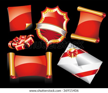 Abstract Red and Gold Set of Christmas Design Elements - stock vector