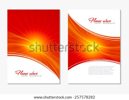 Abstract red and yellow color backgrounds with lighting effect. Back and front warm flyer. Bright cover design template layout for corporate business book, booklet, brochure, poster, banner. Vector - stock vector