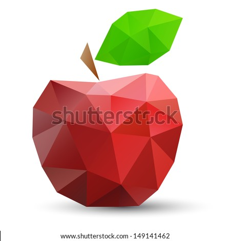 Abstract red apple. Vector illustration,  polygonal design. - stock vector