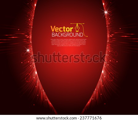Abstract red background of luminous lines - stock vector