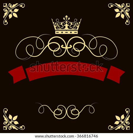 Abstract red banner with crown and corner decorative elements vector template. - stock vector
