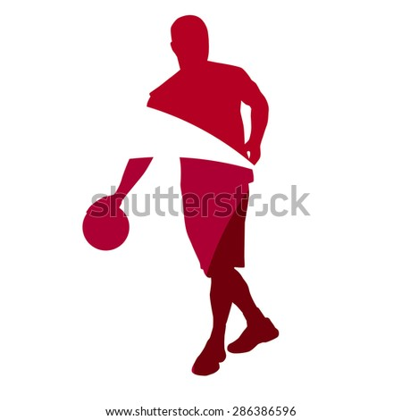 Abstract red basketball player silhouette - stock vector