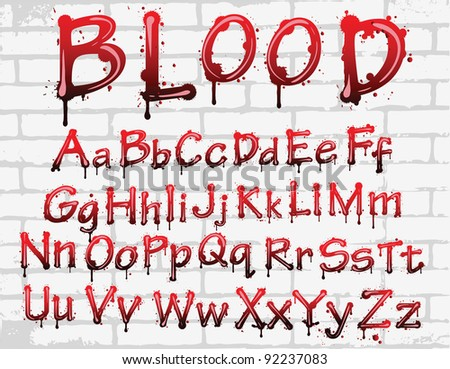 Abstract red blood alphabet. vector letters isolated - stock vector