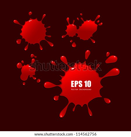 Abstract red blood drops, vector illustration - stock vector